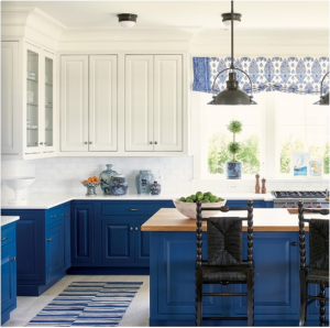 kitchen-design-in-peachtree-city-ga-cobalt-blue-base-cabinets-ivory-top-cabinets-butcher-block-island