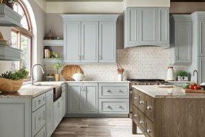 kitchen-remodel-in-Peachtree City-ga-kraftmaid-seafoam-blue-maple-cabinets-kitchen-island